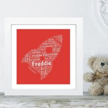 Framed Rocket Word Cloud - Ideal for a New Baby, a Christening/Naming Day Gift or as Nursey Artwork